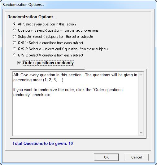 Randomization settings