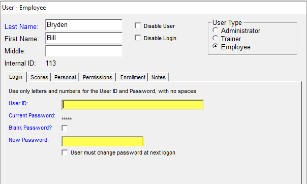 user profile login tab