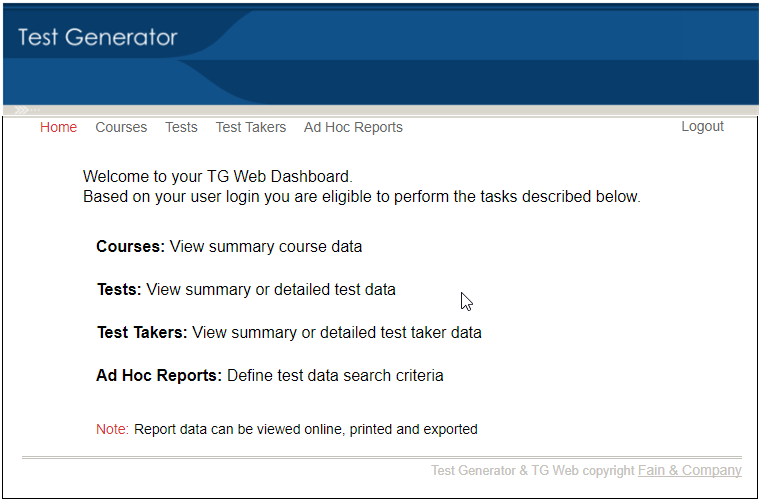TGDashboard   View, Print or Export Test Results   Test